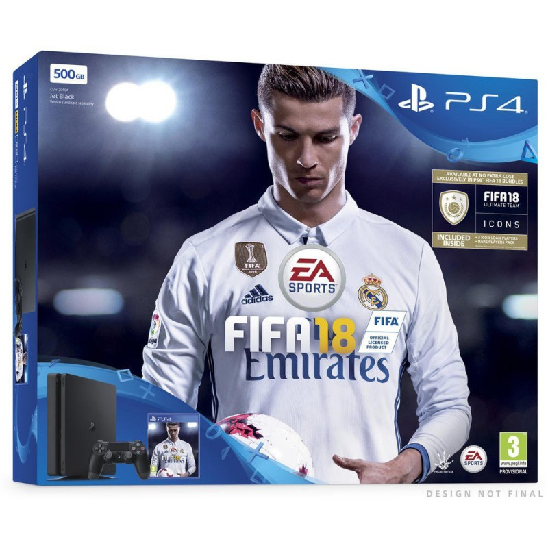 pack ps4 slim 500 go noire fifa 18 ps4. Black Bedroom Furniture Sets. Home Design Ideas