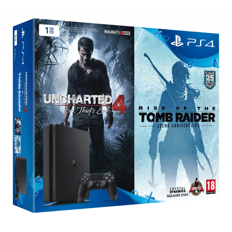pack ps4 slim 1to noire uncharted 4 rise of the tomb. Black Bedroom Furniture Sets. Home Design Ideas