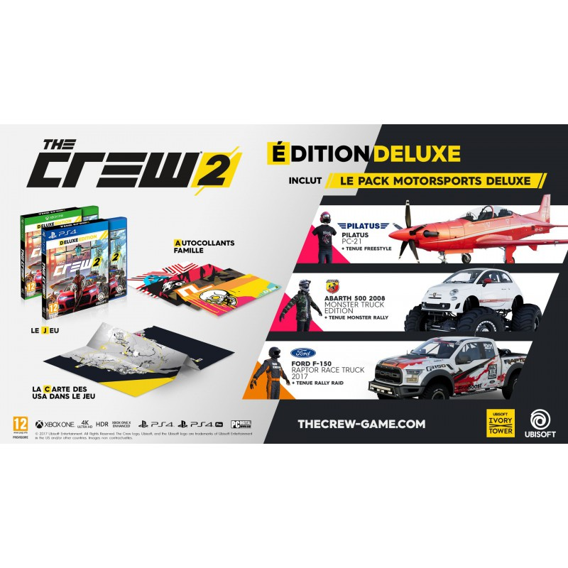 the crew 2 edition deluxe sur ps4 tous les jeux vid o ps4 sont chez micromania. Black Bedroom Furniture Sets. Home Design Ideas
