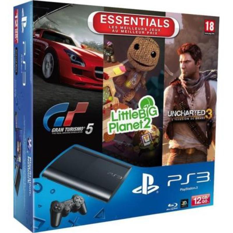 image du jeu Pack Ps3 12 Go Noire + Gran Turismo 5 + Uncharted 3 + Lbp 2 Essentiels sur PS3