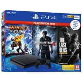 Pack Ps4 Slim 500 Go Noire +tlou +ratchet&clank +uncharted 4 Hits