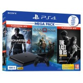 Pack Ps4 Slim 500 Go Noire +tlou+uncharted 4 Hits+ Gow (exclusivité Micromania)