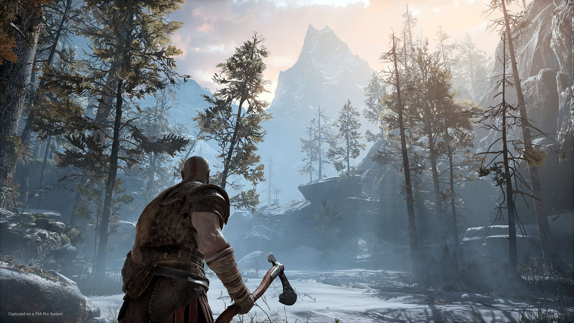 Kratos hache à la main dans une forêt nordique