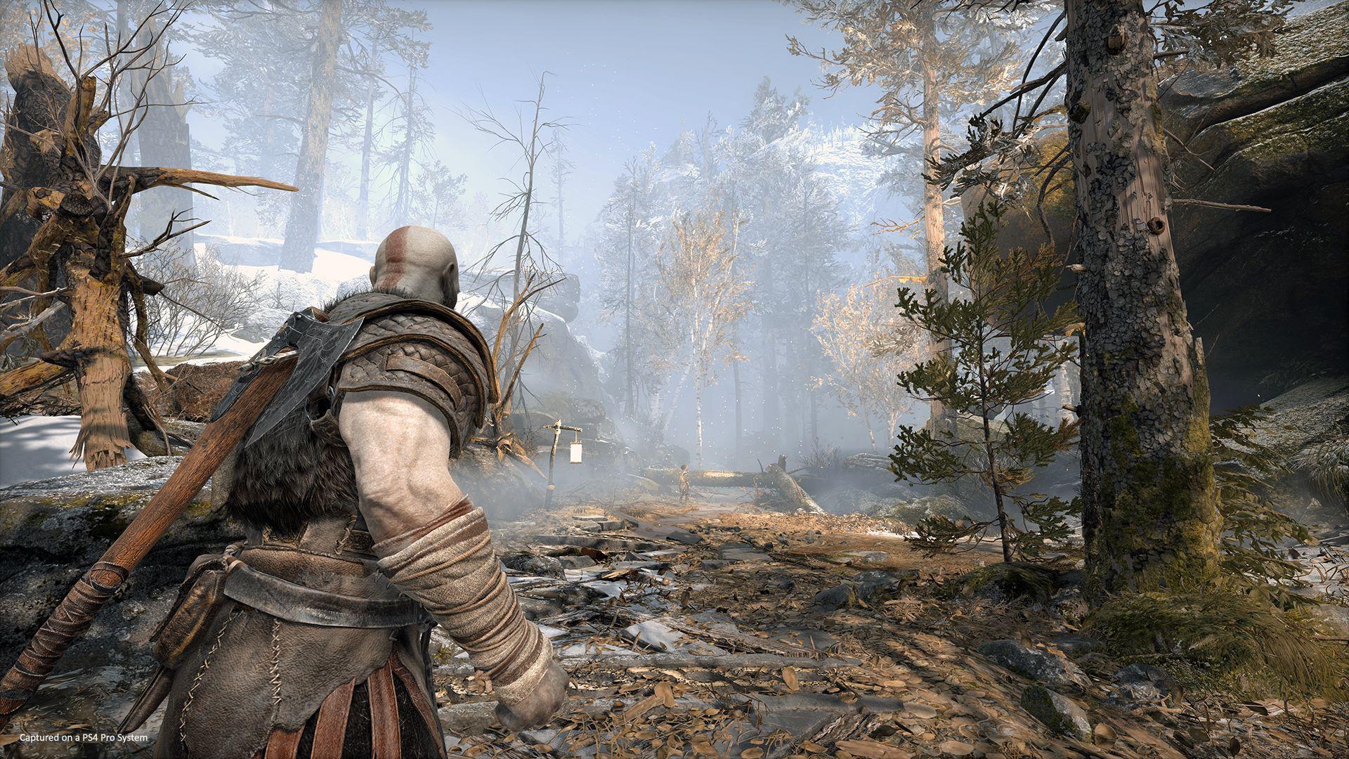 Kratos dans un paysage nordique de God of War